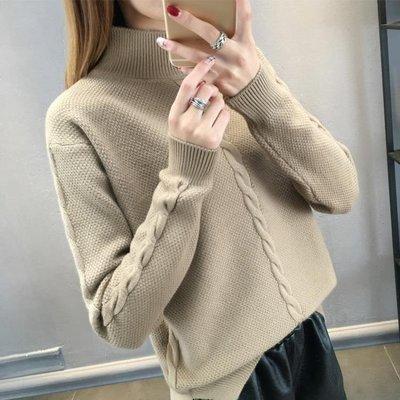 秋冬 毛衣女秋裝新款半高領韓版寬鬆套頭長袖針織衫加厚打底衫女潮
