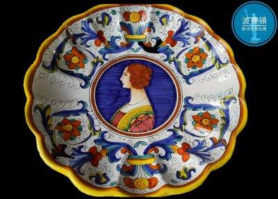 【波賽頓-歐洲古董拍賣】歐洲/西洋 意大利古董 意大利托斯卡尼手工彩繪瓷盤 A款(年份:1940年)(直徑:31cm)(落款:APS Epuro 289/28)