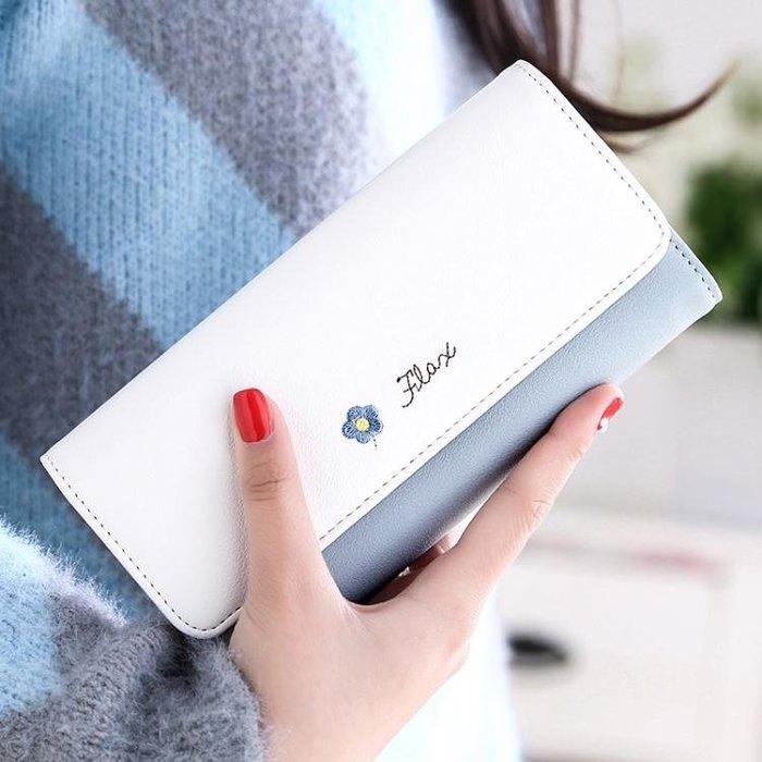 女式長款錢包女學生小清新日韓版撞色刺繡搭扣3折手拿包錢夾皮夾