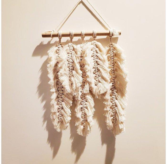 【萌古屋】北歐風手工棉繩白色羽毛掛飾壁飾