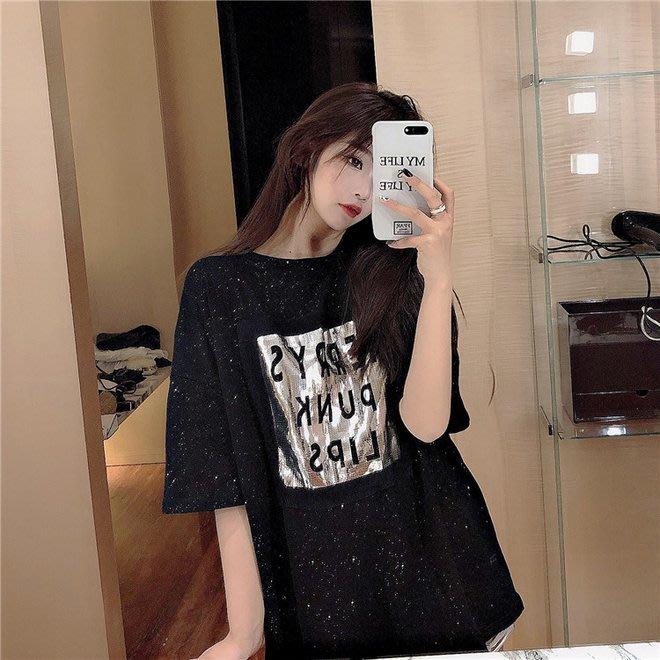 FINDSENSE G6 韓國時尚潮流 2019夏季新款港風寬鬆顯瘦BLING中長款百搭黑色短袖圓領T恤女裝上衣
