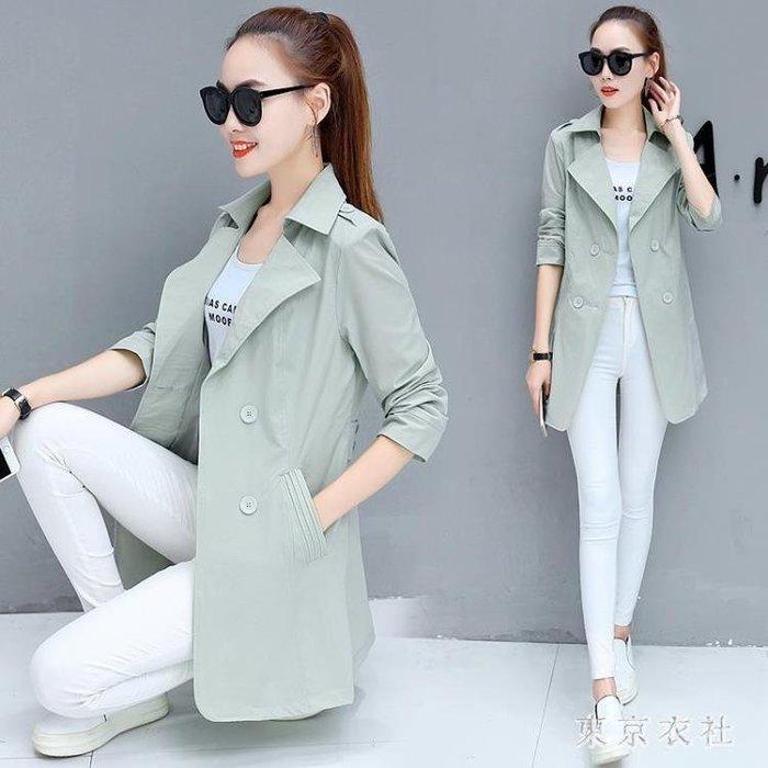 中大尺碼風衣外套 韓版女裝修身百搭秋季中長款時尚長袖薄款外套 EY4948