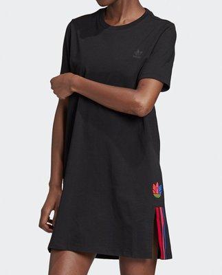 Adidas 愛迪達 黑色 洋裝 短袖 短t 長板 GD2233