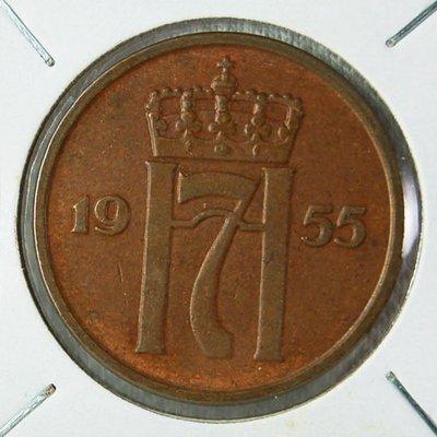 挪威 (NORWAY) 1955年 5 ORE 銅幣 UNC【A2667】