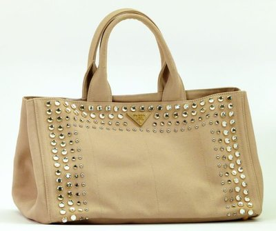 Prada b1872 Studded Canvas Gardener's Tote Bag大型卯釘單寧托特包米色