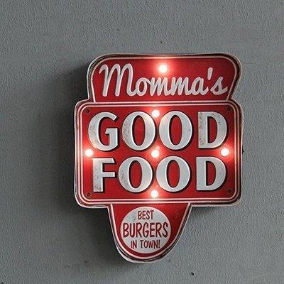 美式街頭GOOD FOOD燈排壁掛LED電子燈 鐵製懷舊箭頭咖啡廳餐酒館標示牌鐵皮畫燈飾壁燈 工業風創意好吃餐飲指示燈牌