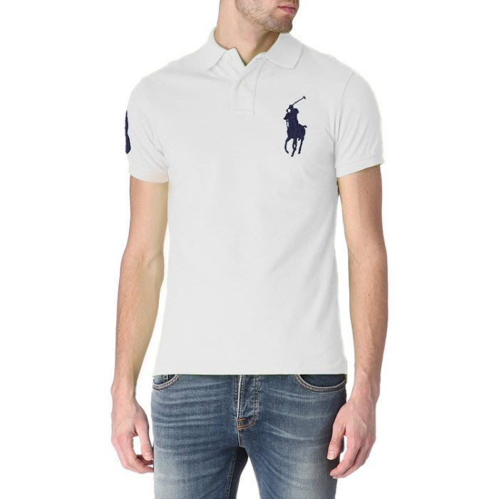 美國百分百【Ralph Lauren】Polo 衫 RL 短袖 網眼 白色 上衣 深藍 大馬 男款 S號 B003