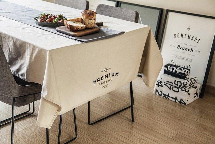 - Meiprunus -原創 設計 北歐 歐美 英文 米色 棉麻 餐桌布 桌巾 沙發布(L)136cm*260cm
