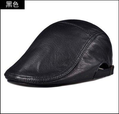 【褲衩】貝雷帽男秋冬季鴨舌帽男百搭中老人帽子男真皮前進帽單款羊皮帽子貨號:WP001