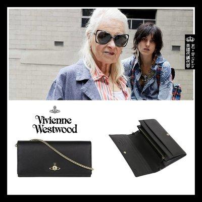 ♔MissyJ英國代購♥ Vivienne Westwood 英倫土星龐克品牌黑色防刮傷紋全牛皮革金色鍊帶真皮夾女用長夾