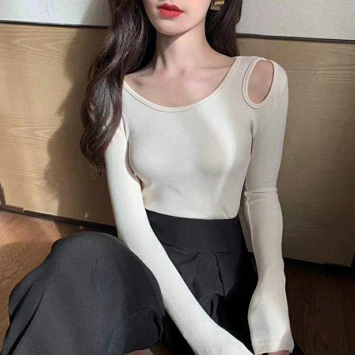 長袖t 長袖上衣 露肩非常好穿 設計感鏤空長袖T 021090