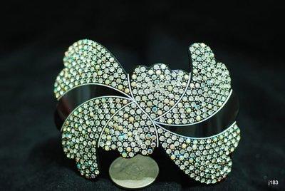 j183正法國醋酸材質E牌滿鑽藝術型弧形自動夾超輕盈可公主頭全頭或盤(超值特價)