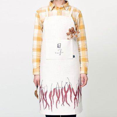 圍裙李知彌x仟象home 原創中式布藝棉麻廚房圍裙家用背心男女做飯罩衣