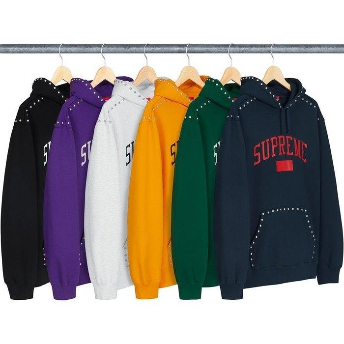 【美國鞋校】  預購 Supreme Studded Hooded Sweatshirt 帽T 七款