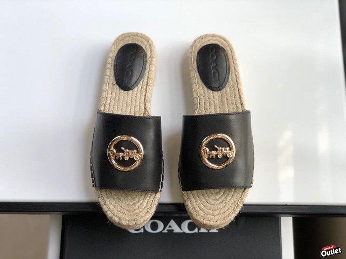 【全球購.COM】COACH 寇馳 2020新款 黑色拖鞋 五金屬馬車LOGO 休閒鞋 時尚精品 美國連線代購