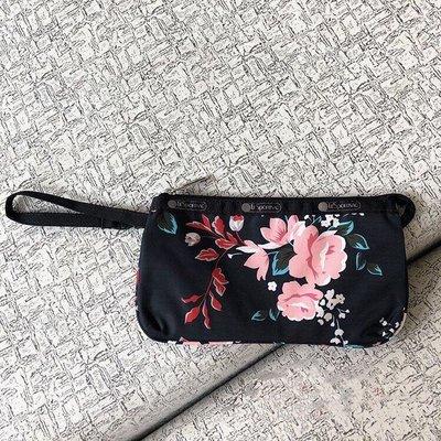 LeSportsac 8105 黑底玫瑰 手掛繩多夾層化妝包 零錢包 收納包 降落傘防水 限量 大號