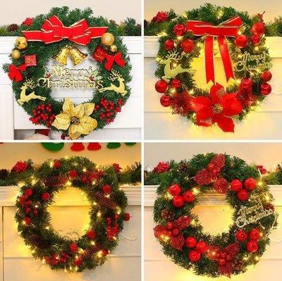 聖誕節聖誕樹裝飾品 聖誕花環 聖誕用品布置挂飾聖誕節花環門挂聖誕裝飾—莎芭