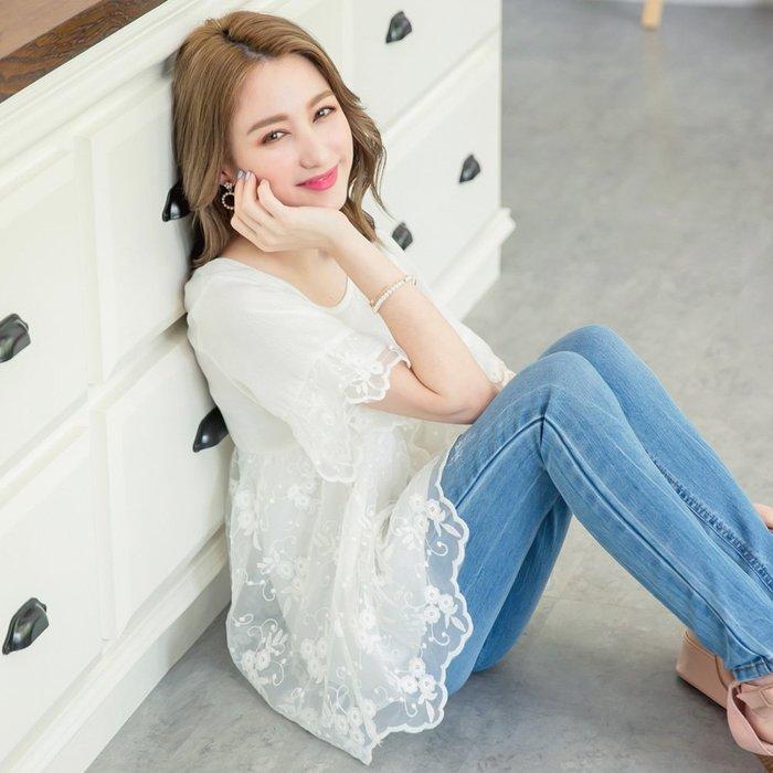 【木風小舖】轉賣YOCO.花語女孩刺繡蕾絲網布圓領上衣*白S號