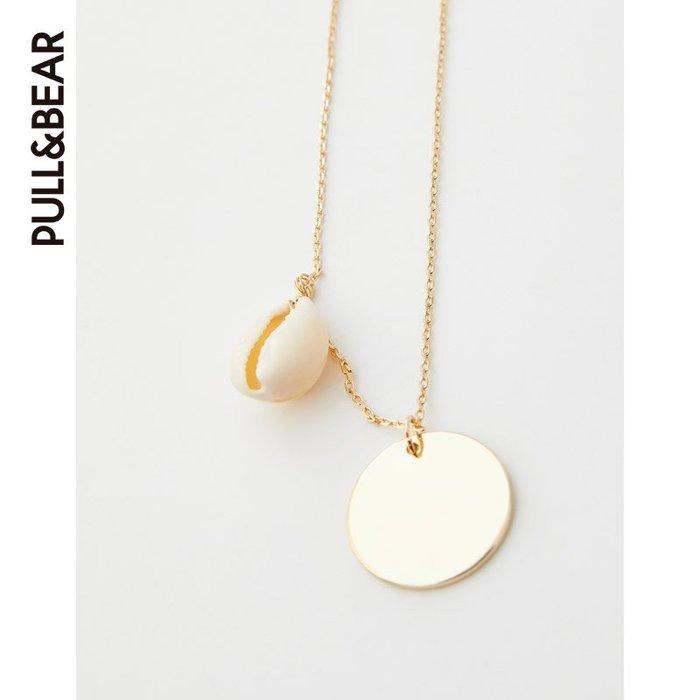 PULL&BEAR 女士飾板和貝殼飾件項鏈 05995351 純銀材質 項鏈 銀項鏈 禮物 定制項鏈