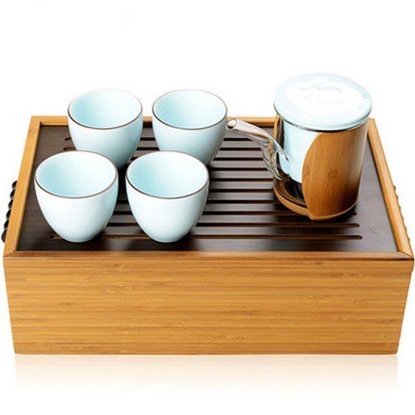 5Cgo【茗道】含稅會員有優惠 40262995159 功夫茶具套裝竹制茶盤青瓷耐熱玻璃紅茶器旅行茶具花草茶具便攜迷你