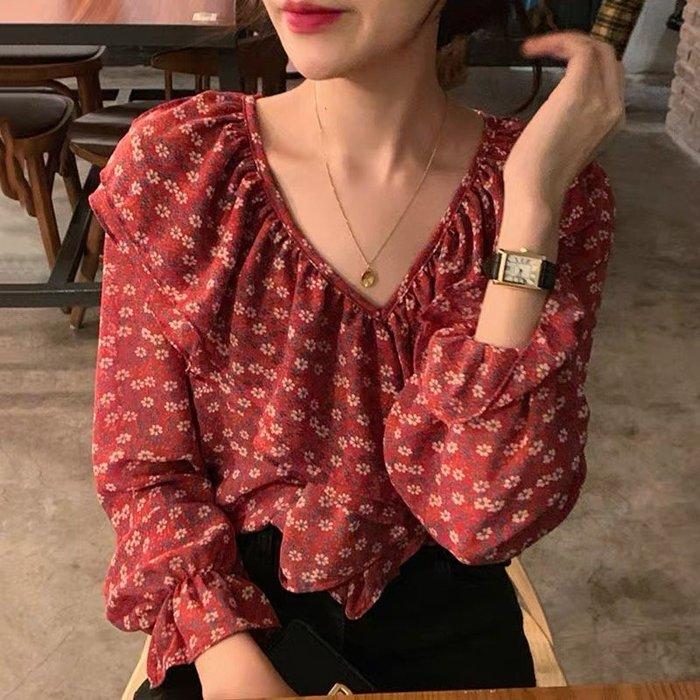 *Angel  Dance*雪紡長袖上衣(碎花)@韓國 chic 襯衫 喇叭袖 V領 荷葉邊 喇叭袖 寬鬆@現貨+預購