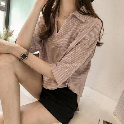 ❤Princess x Shop❤春夏裝新款韓版時尚休閒寬鬆顯瘦條紋襯衫DT806027正韓洋裝一字領露肩性感