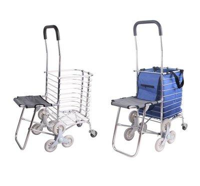 #7 帶凳子購物車 8輪 椅子爬樓車 買菜拖車 鋁合金手推車 6PVC+2橡膠輪 坐墊,COSTCO採購,給家人多份關心