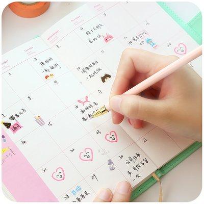 學習用品 筆記本2019時間軸手帳本日歷日記事韓國可愛手繪手賬讀書筆記本子女學生