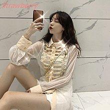 【Strawberry】2019新款韓版時尚氣質襯衣女修身性感小心機上衣透視襯衫送內搭