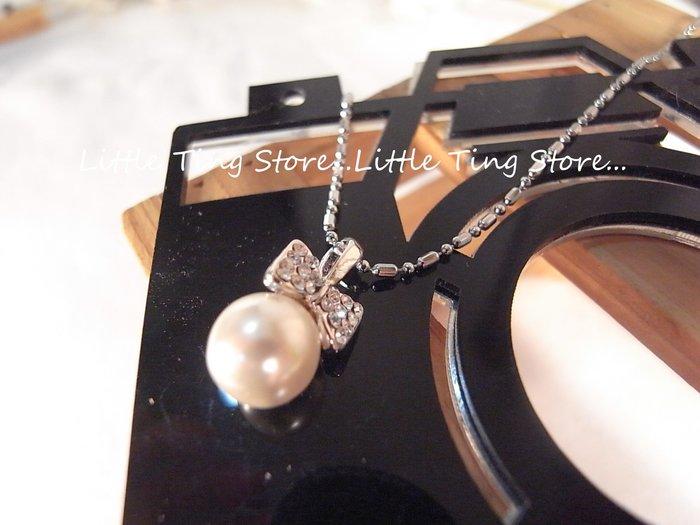 Little Ting Store:婚禮晚宴母親節禮物蝴蝶結款珍珠項鍊短項鍊頸鍊鎖骨鍊