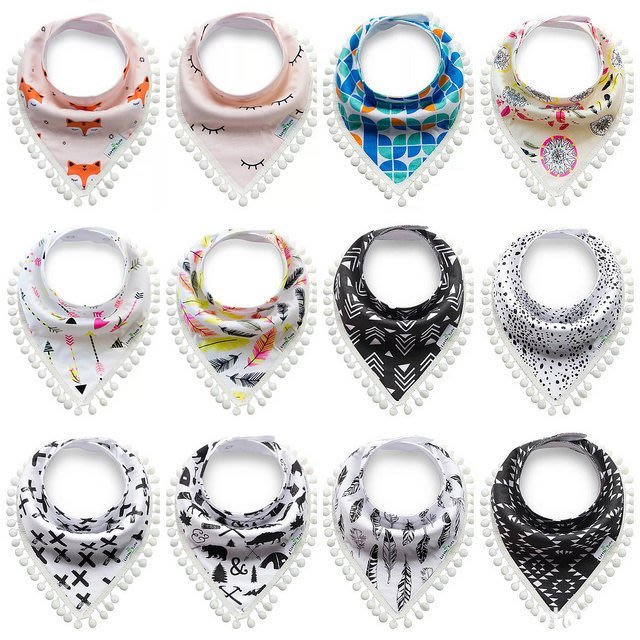 BebeHome 新品試賣限時特價 韓式有機棉雙層加厚款雙面可用超可愛三角口水巾 可當頭巾 0-4歲適用