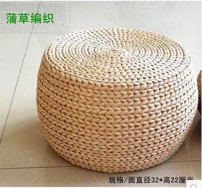 【優上】草編坐墩換鞋凳榻榻米坐墊蒲團木架椅墊沙發墊繡墩「直徑32高22」