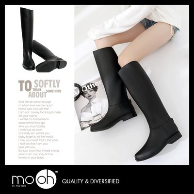 長筒黑色素面雨鞋 斜口 顯瘦 防水長靴 mo.oh (歐美鞋款)