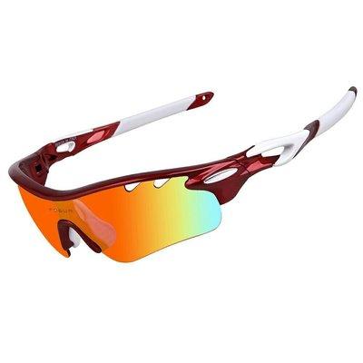 美國品牌 寶麗來偏光眼鏡 運動眼鏡 太陽眼鏡(TR90鏡框+黑偏光+revo鏡片+透明防霧+黃色+淺藍全配超值組)13項