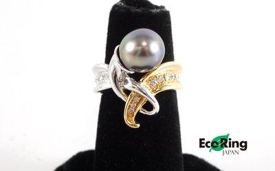 [Eco Ring HK LTD]*Diamond+Black Pearl Ring/18K WG+YG/11.9g*Rank AB-197020954-