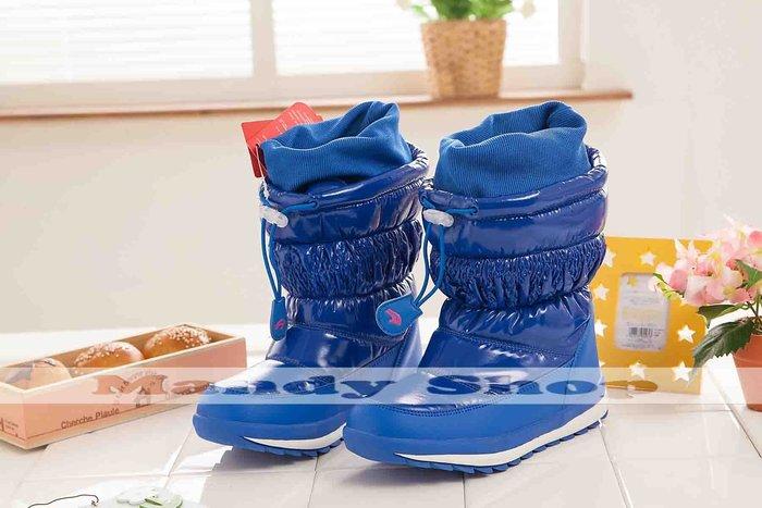 mandyshop【M2731】防水防滑亮皮兒童保暖雪地靴