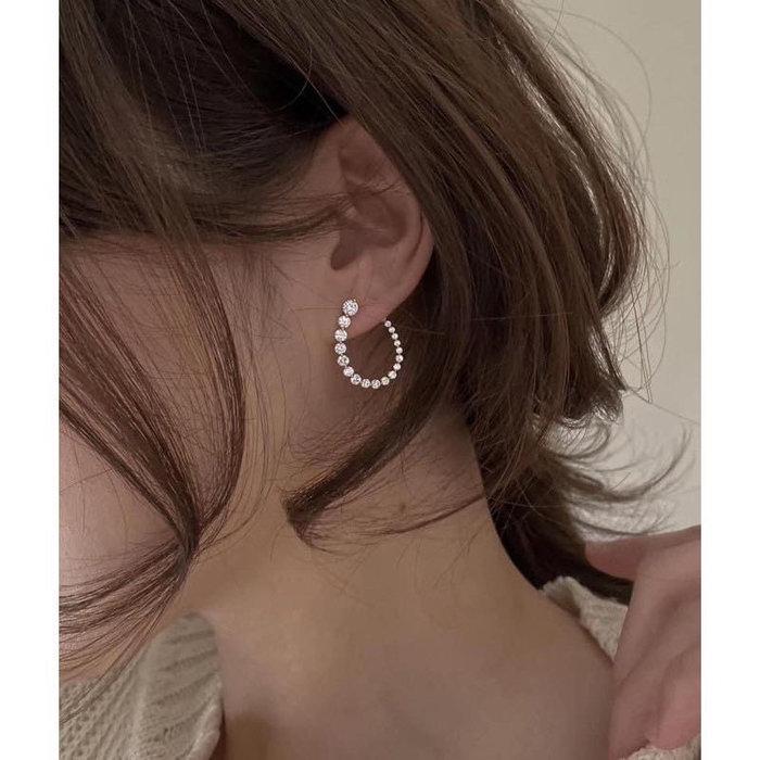 正韓(韓國空運回台) 超美溫柔閃鑽弧型防過敏針耳環