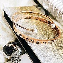 ☜男神閣☞玫瑰金手鐲鍍18K幸運羅馬數字女鈦鋼時尚手環 珍珠開口手鐲