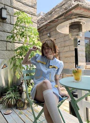 「晶晶衣櫥」 PIT-A-PAT領結波邊套裝女2021夏正韓修身款顯瘦襯衫高腰半身裙INS火K5G3