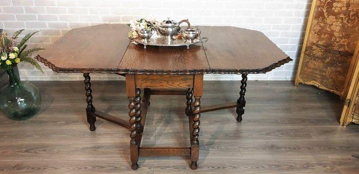 【卡卡頌  歐洲古董】英國老件~ 波浪花邊 螺旋桌腳 可折疊 多尺寸使用 餐桌 工作桌 古董桌t0201