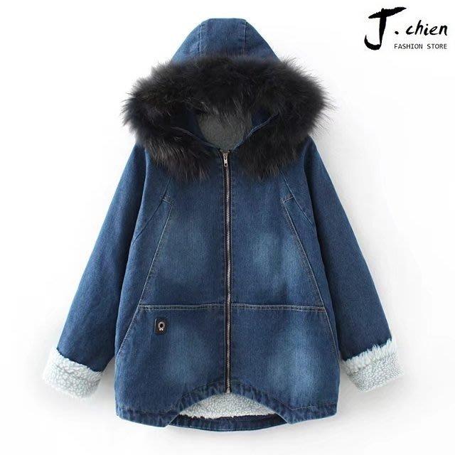 J.chien ~[全館免運]秋冬女裝加厚保暖牛仔外套 牛仔外套 單寧兒外套 棉質小羔羊外套