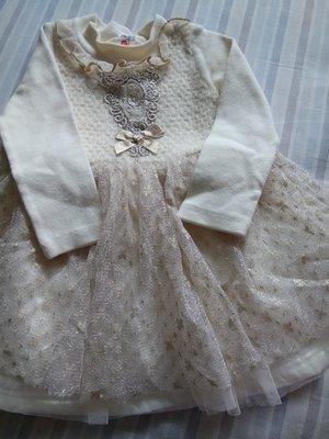 韓國 金色小洋裝 2y 花童服