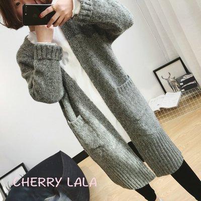 CHERRY LALA 韓國單實拍春天新款質感花線寬鬆中長款開衫針織毛衣外套 MY02167  chic