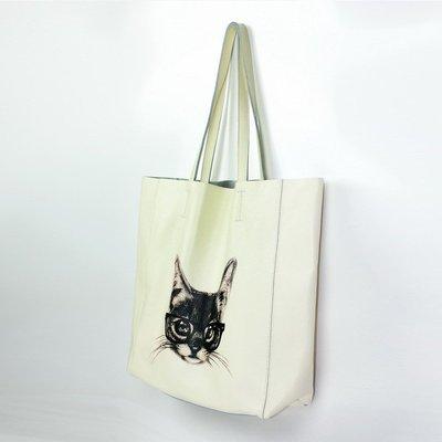 手提包 真皮 托特包-肩背米白牛皮貓咪女包包73vi21[獨家進口][米蘭精品]