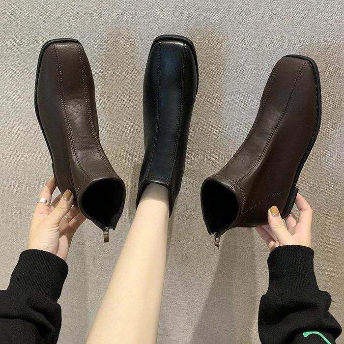 冬季保暖女靴 馬丁鞋 長靴機車靴 韓版百搭方頭短靴秋季韓版百搭靴子平底馬丁靴女英倫風瘦瘦靴