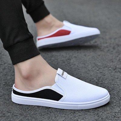 懶人鞋 豆豆鞋 休閒鞋夏季半拖鞋男潮帆布包頭一腳蹬懶人鞋網紅拖鞋無后跟半托小白板鞋