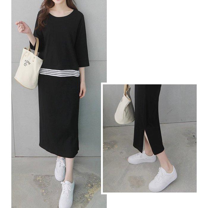 【Hao Da】全館399免運↘「M~XL。現貨」兩件式套裝 假兩件拼接上衣 + 縮腰側開衩裙 (P1205)