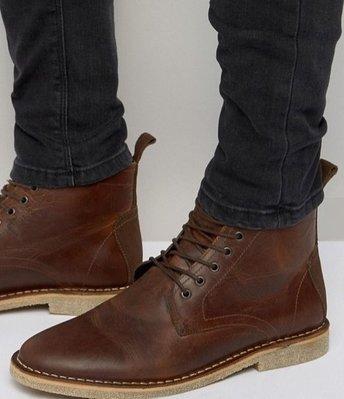 ◎美國代買◎ASOS麂皮與車線裝飾橡膠鞋底搭配皮紋經典皮靴鞋帶款短筒皮靴~歐美街風~大尺碼~