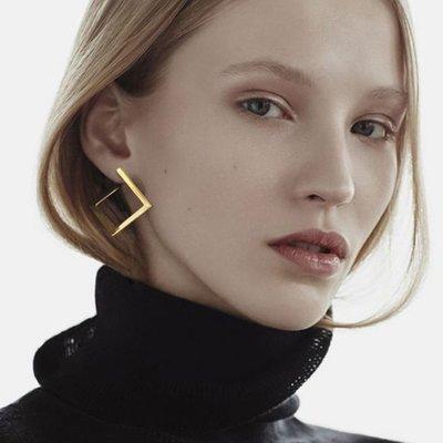 韓國設計款幾何個性耳環氣質耳飾高質感歐美大氣誇張耳釘耳環