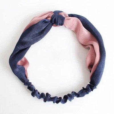 正韓 亮面皺綢雙色交叉彈性鬆緊髮帶(靛藍粉) 台南市